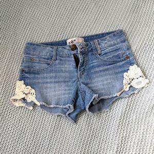 Macramé Jolt jean cutoff shorts